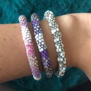 Lily and Laura Roll On beaded bracelet set